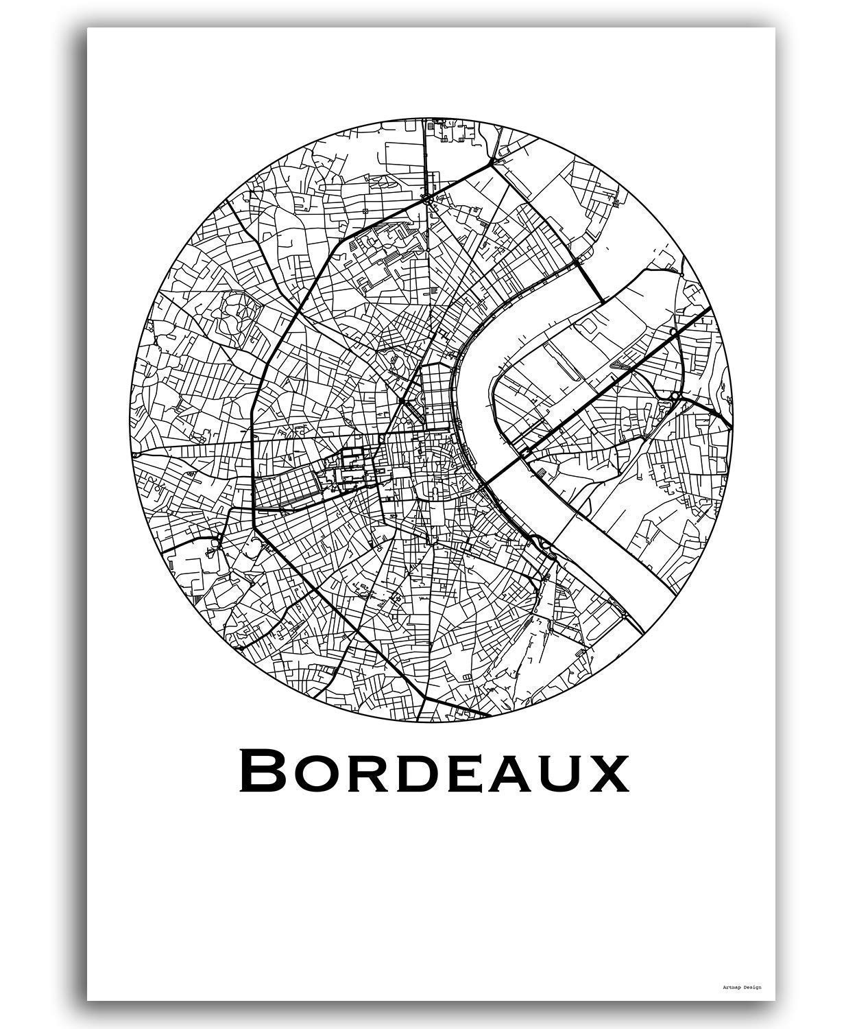 Cartel Bordeaux Francia Minimalista Mapa - City Map ...