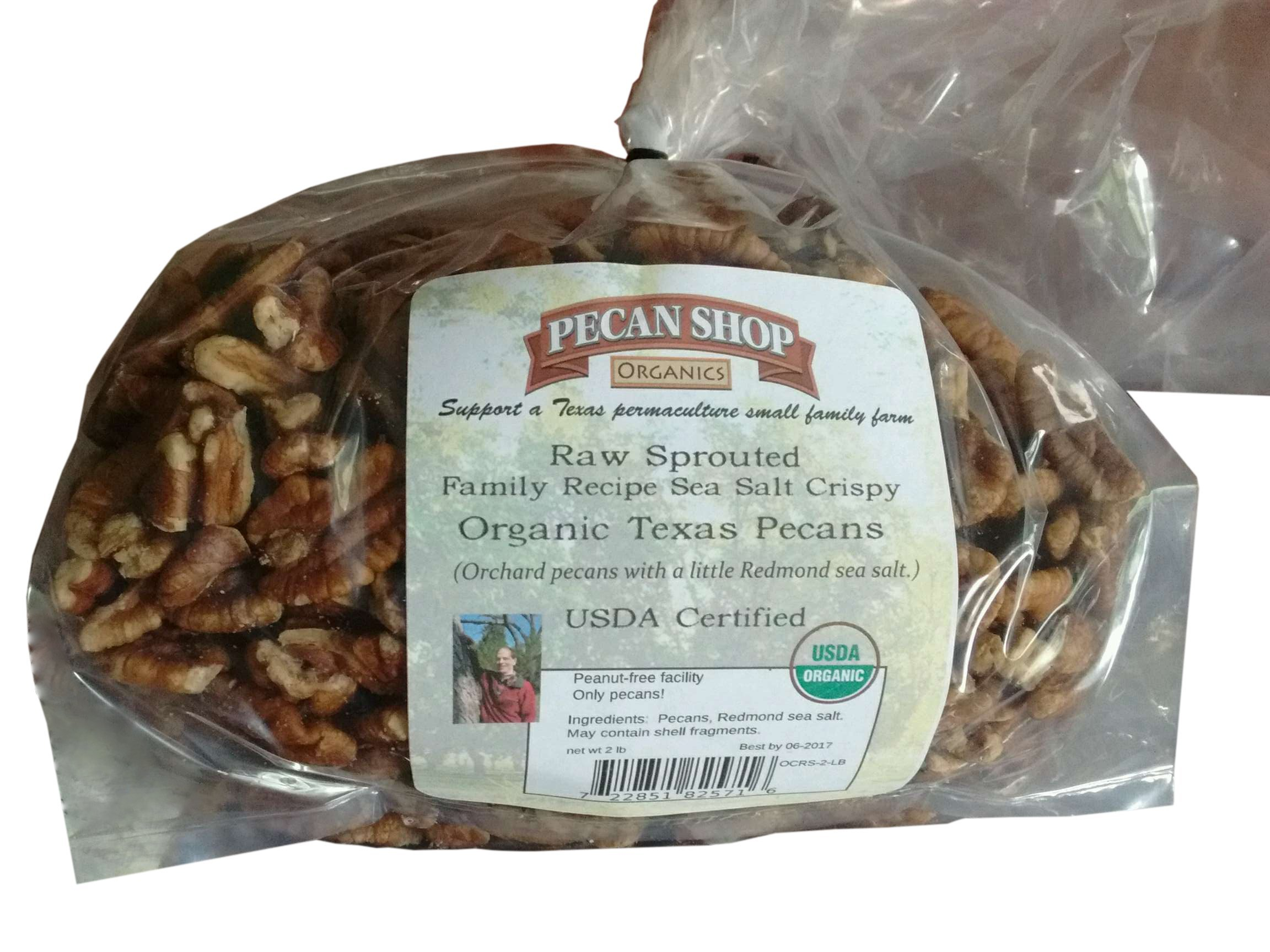 Certified Organic Sprouted Sea Salt Texas Papershell Pecans, 2 Lb. Family Orchard Grown