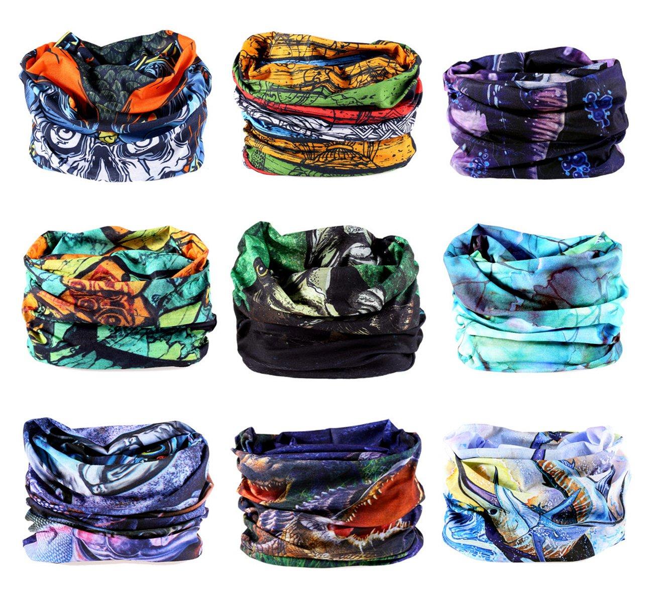 KINGREE 9PCS Headwear, Womens and Mens Headband, Guys Sweatband & Sports Head Tie for ATV/UTV Riding, Outdoor Magic Scarf, Bandanna Headwrap, (Fishing)