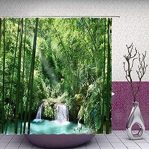 Feierman Bamboo Shower Curtain Natural Decor Green Forest Bathroom Curtain Accessories Polyester Fabric Bathroom Shower Curtain Set with Hooks
