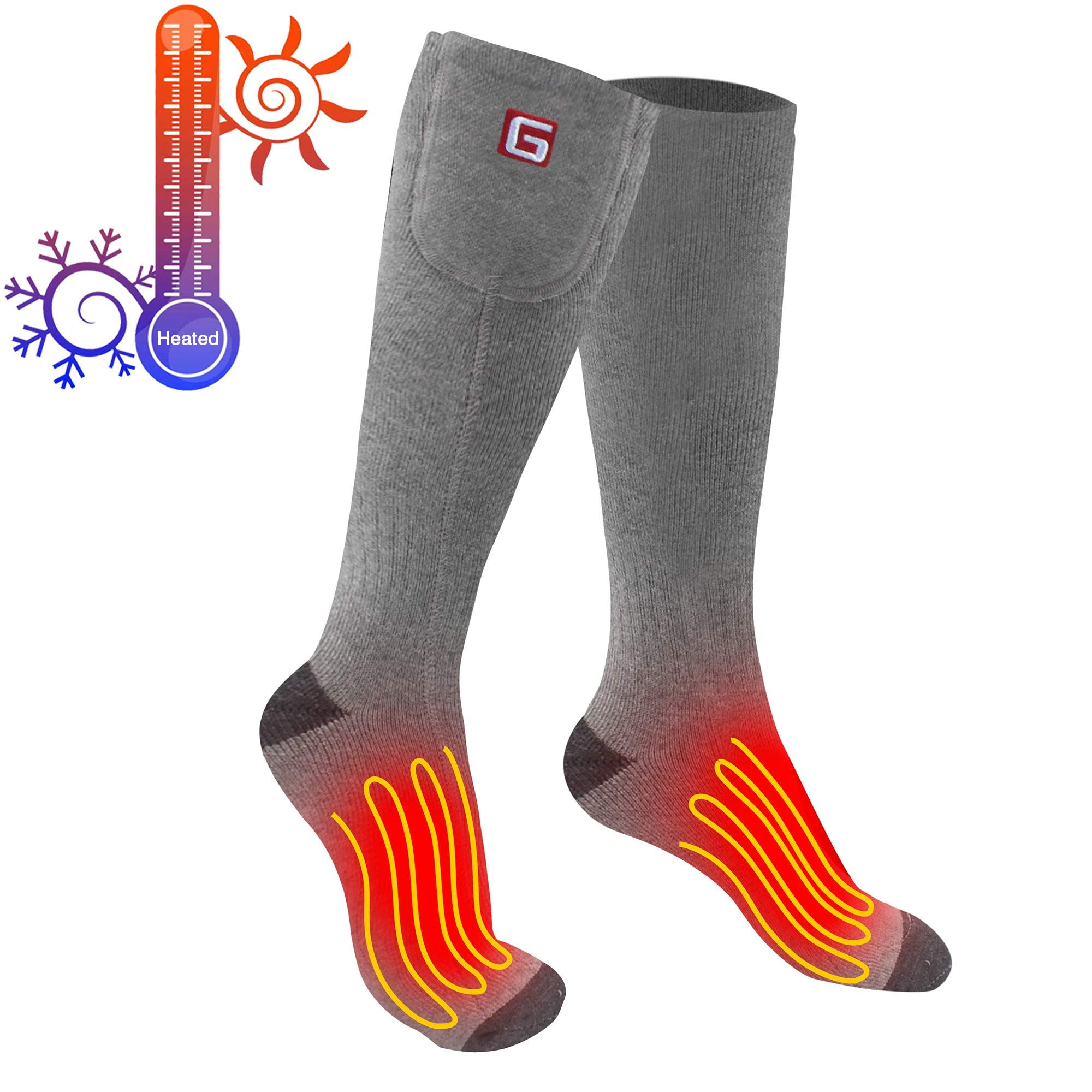 Greensha Electric Heated Socks With Rechargeable Battery 3 Levels Temperature Control Warming Feet Thermal Socks For Cold Weather,Indoor Or Outdoor Activity by Greensha