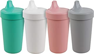 product image for Re-Play Made in The USA 4pk No Spill Cups for Baby, Toddler, and Child Feeding in Aqua, White, Blush and Grey | Made from Eco Friendly Heavyweight Recycled Milk Jugs | (Fresh+)
