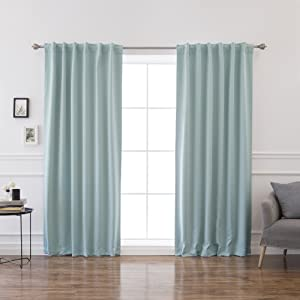 "Best Home Fashion Thermal Insulated Blackout Curtains - Back Tab/Rod Pocket - 52"" W x 96"" L - Mint (Set of 2 Panels)"