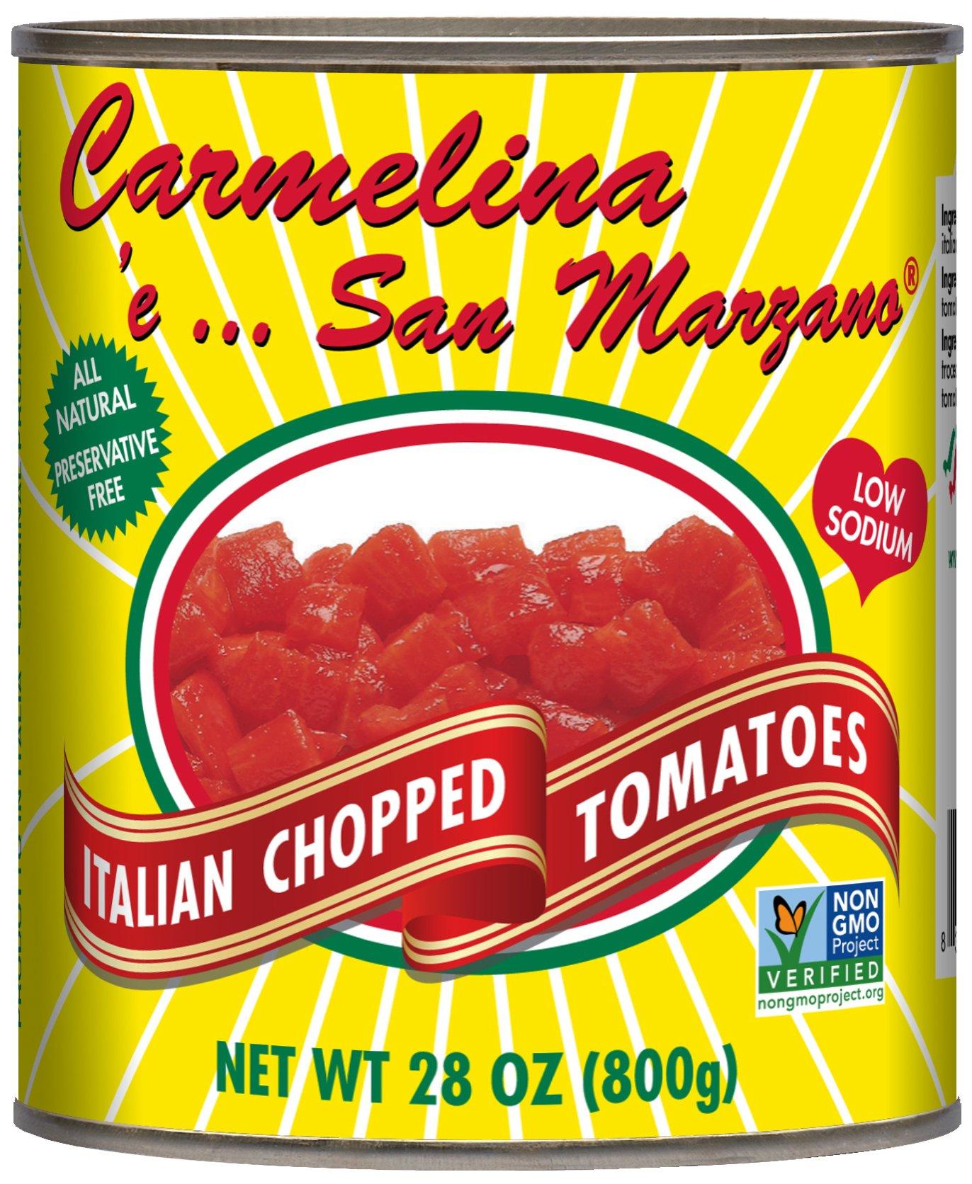 Carmelina San Marzano Italian Chopped Tomatoes in Puree, 28 Ounce (Pack of 6) by Carmelina Brands