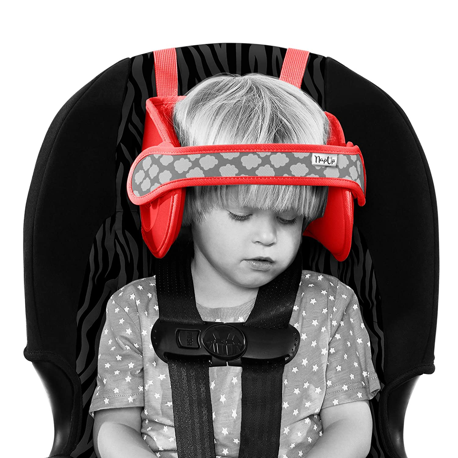NapUp Child Car Seat Head Support - A Comfortable Safe Sleep Solution (Red). NAPUP-RJ