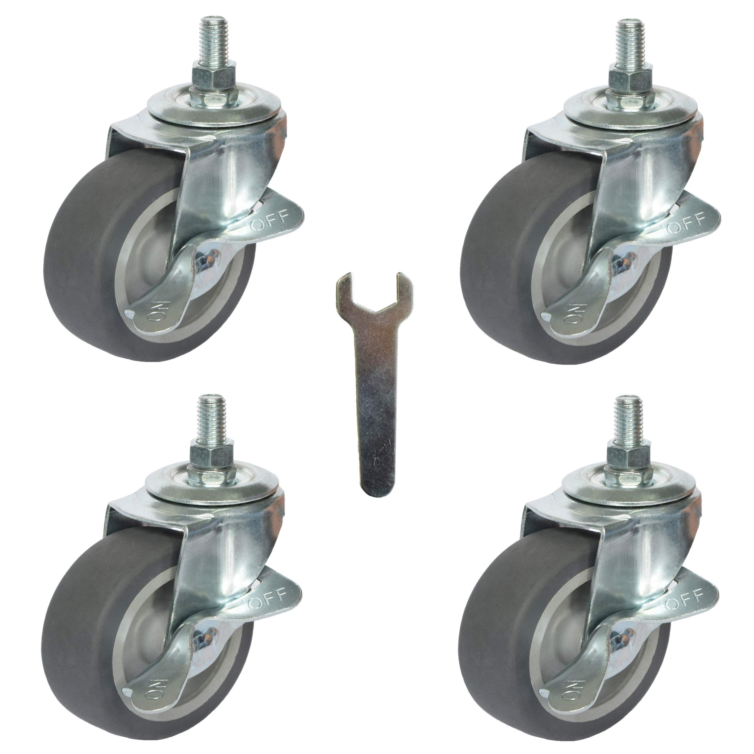 4X Brake Stem Casters 3/8''-16x1''| 3'' Swivel Rubber Stem Caster Wheels with Nuts Lock, Threaded Stem Industrial Castors Replacement for Carts Furniture Dolly Workbench Trolley (CasterBS75_1025EN)