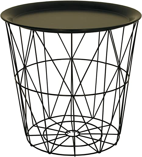 Modern Black Small Wire Side Table Metal Coffee End Side Table