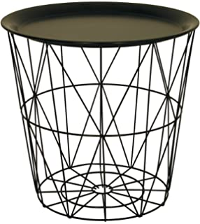 Black metal wire basket wooden top side table amazon small wire side table with black metal tray lid greentooth Image collections