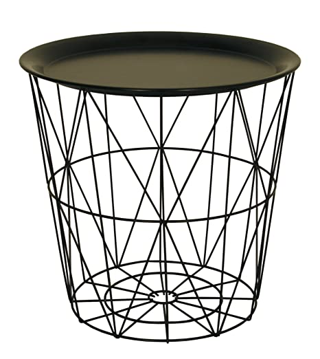 Small wire side table with black metal tray lid amazon small wire side table with black metal tray lid greentooth Images