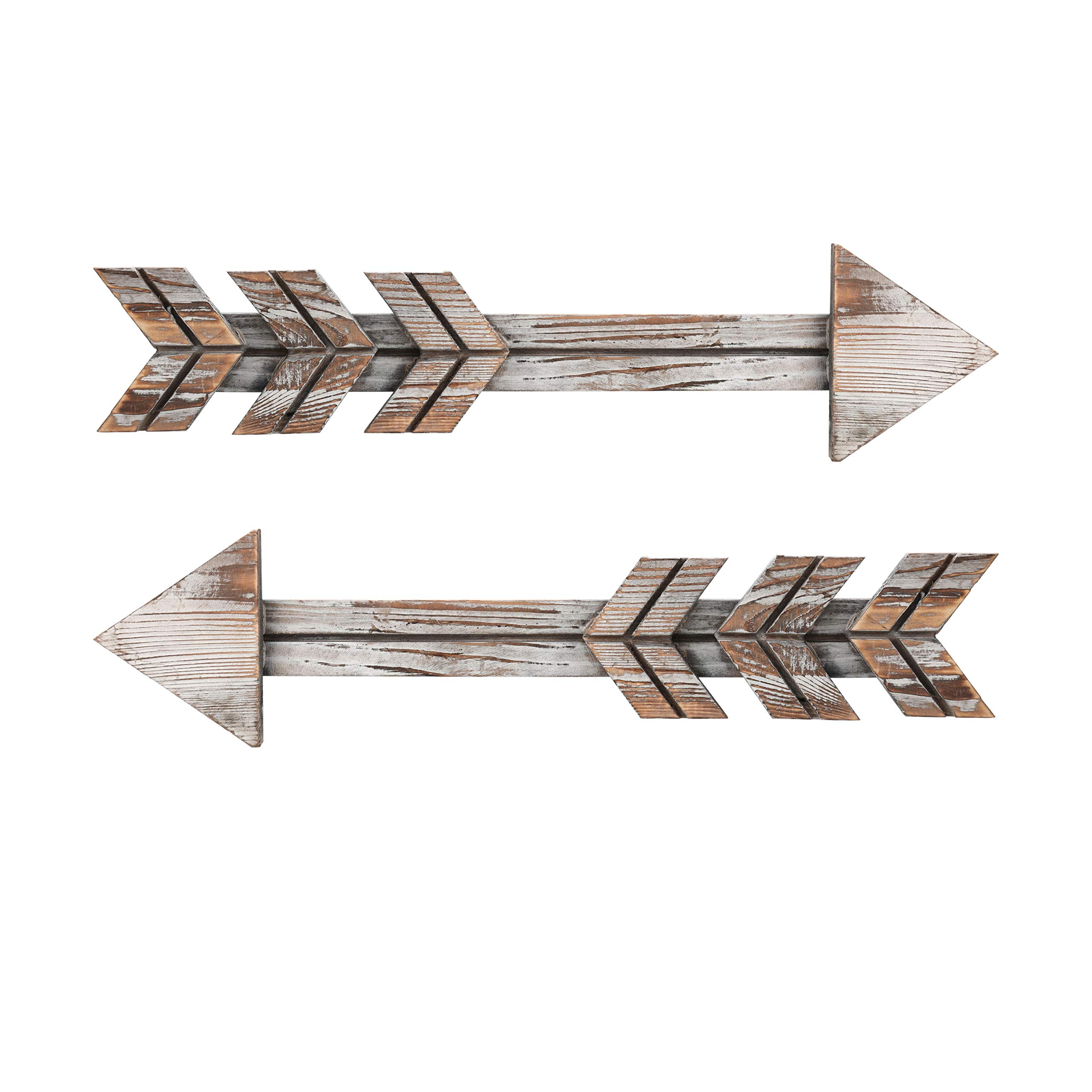 Soonow Wooden Arrow Wall Decor - Rustic Wood Arrow Sign, Set of 2, Vintage White