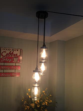 Swell Chandelier Swag Light With Ball Mason Jars No Hard Wiring Just Wiring Database Aboleterrageneticorg