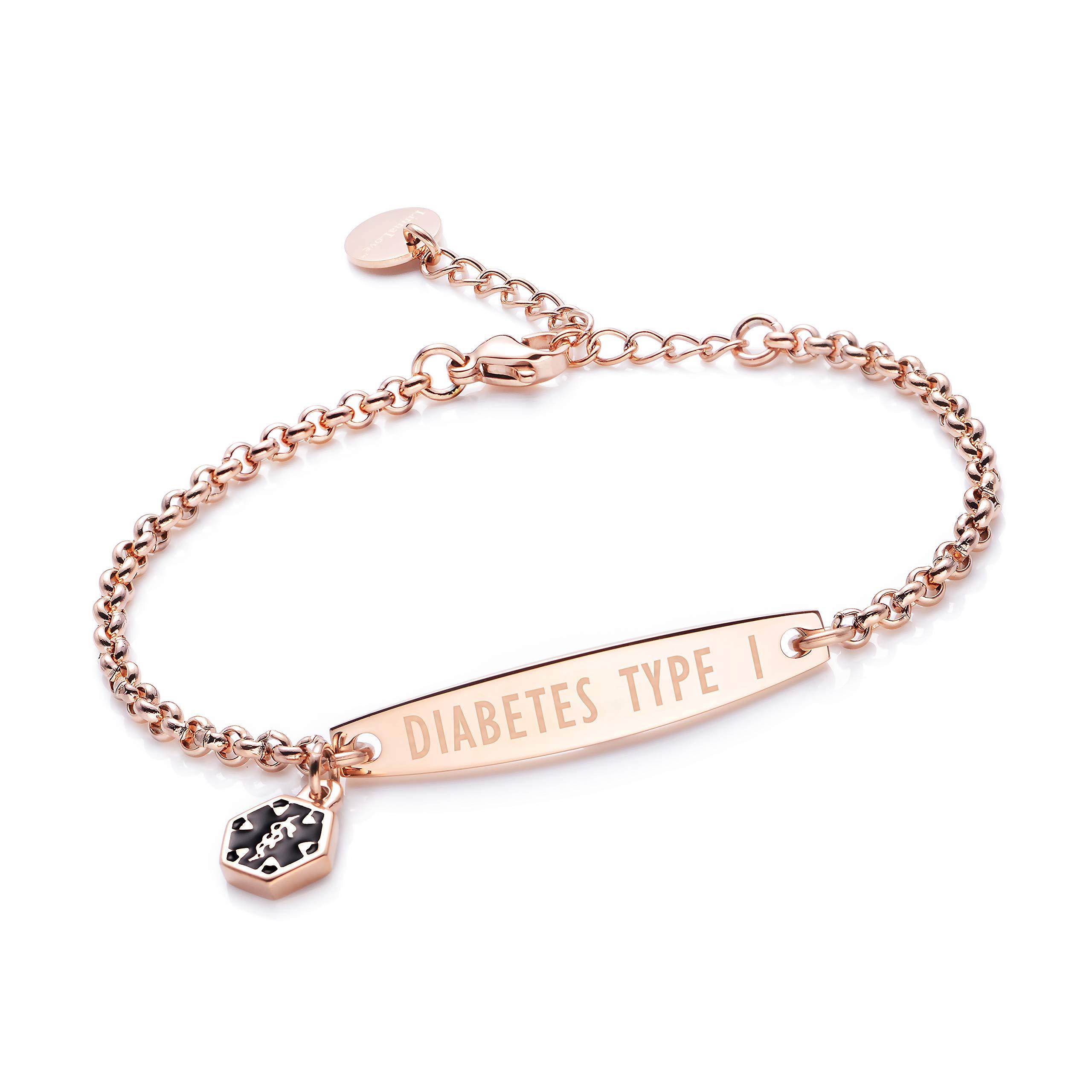 linnalove-Rose Gold Simple Rolo Chain Medical Alert id Bracelet for Women & Girl-Diabetes Type 1