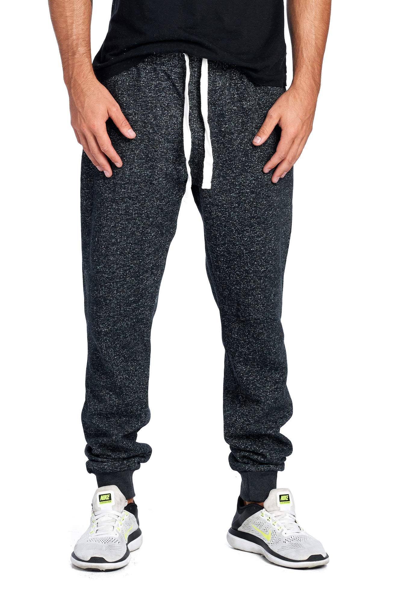 ProGo Men's Joggers Sweatpants Basic Fleece Marled Jogger Pant Elastic Waist (2X-Large, Marled Black) by PROGO USA