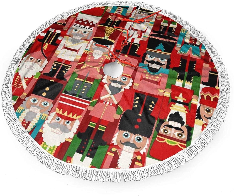 FREEHOTU Christmas Time Nutcracker Sweet Christmas Tree Skirt Gorgeous Edge Tassel Lace for 30