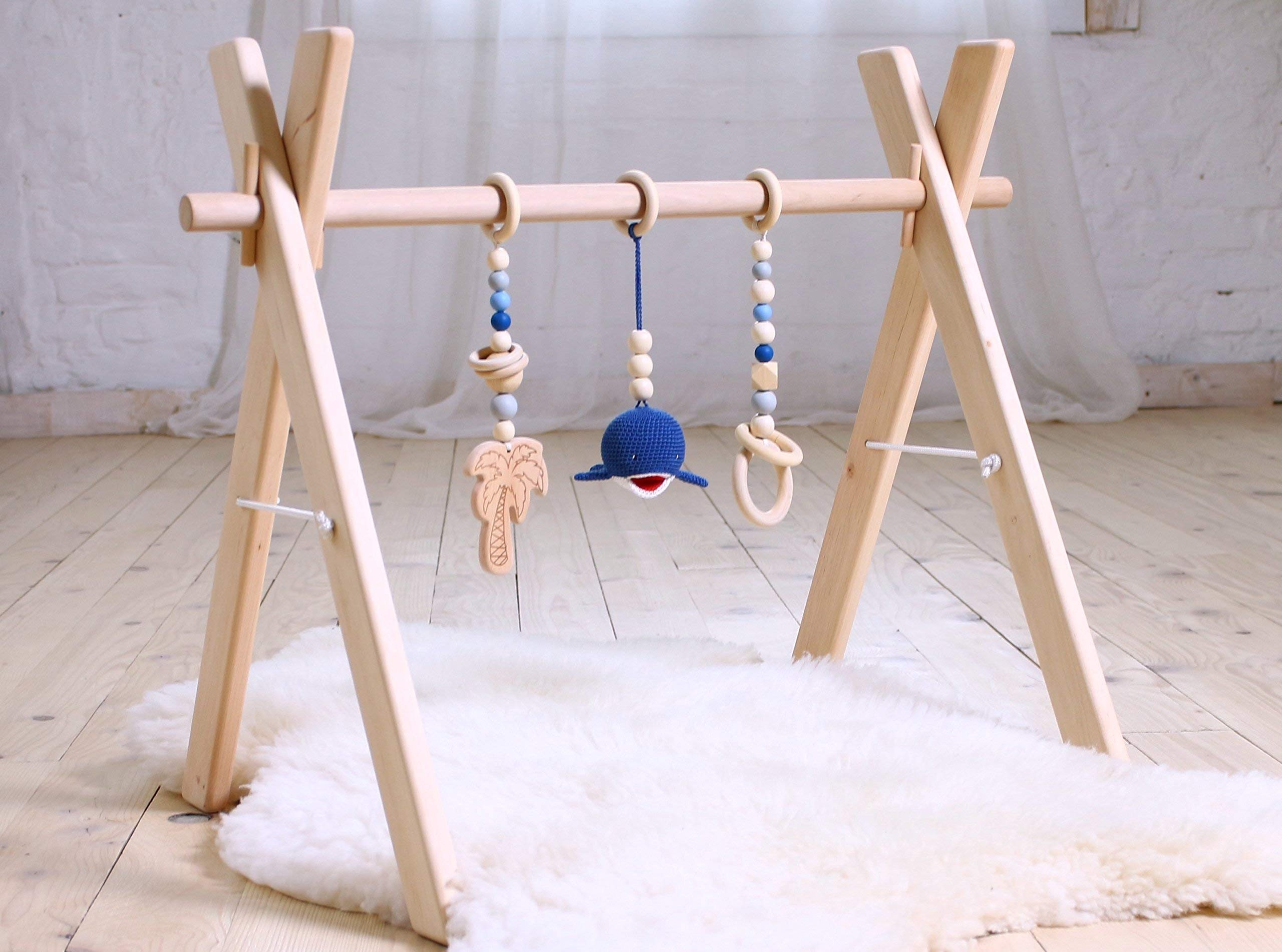 Wood Baby gym with three mobiles: Palm, Whale, Ring. Handmade in eastern Europe. Infant activity gym wooden. Natural wood baby: Navy & gray.