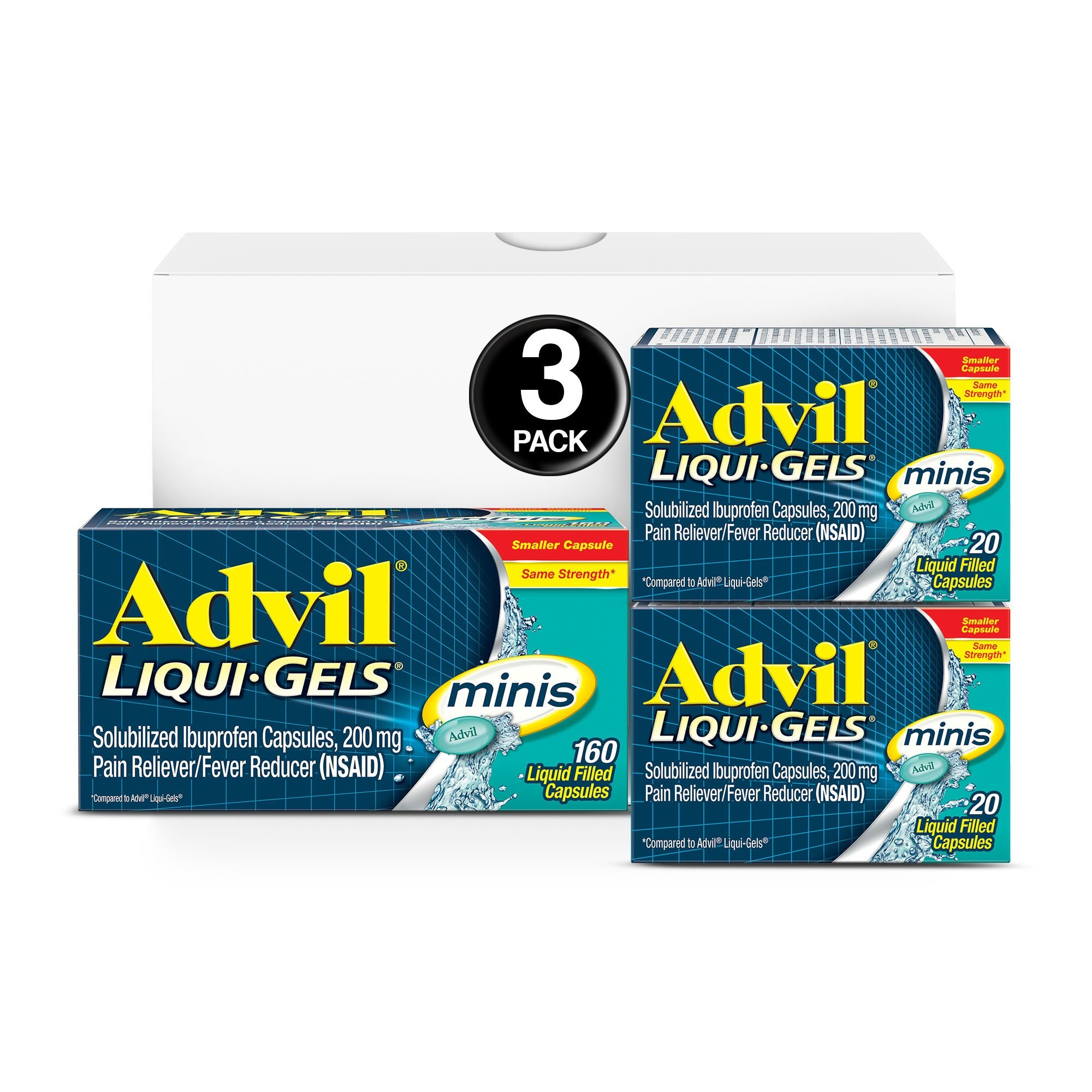 Advil Liqui-Gels minis (160 Count, 20 Count, 20 Count) Home & Away Pack, Pain Reliever/Fever Reducer Liquid Filled Capsule, 200mg Ibuprofen, Easy to Swallow, Temporary Pain Relief,1 Set by Advil