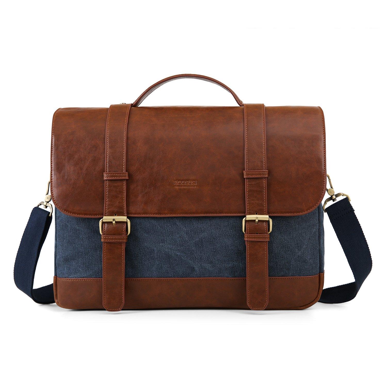6efa56f02c Amazon.com  ECOSUSI 15.6 inch Laptop Messenger Bag Vintage Briefcase  Computer Satchel Shoulder Bag with Multiple Compartments for Men and Women