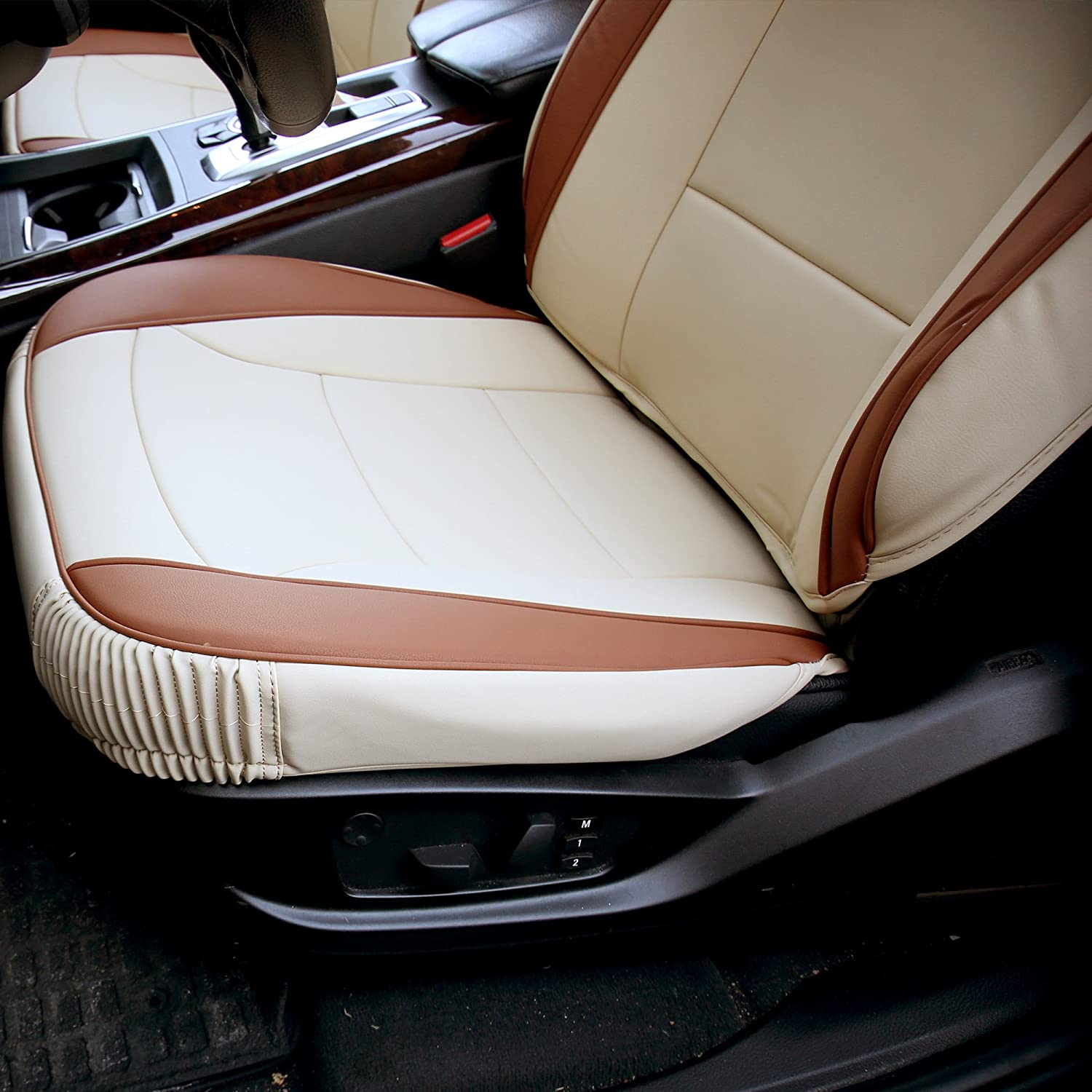 Beige//Tan FH Group PU205BEIGETAN102 PU205102 Ultra Comfort Leatherette Front Seat Cushions Airbag Compatible