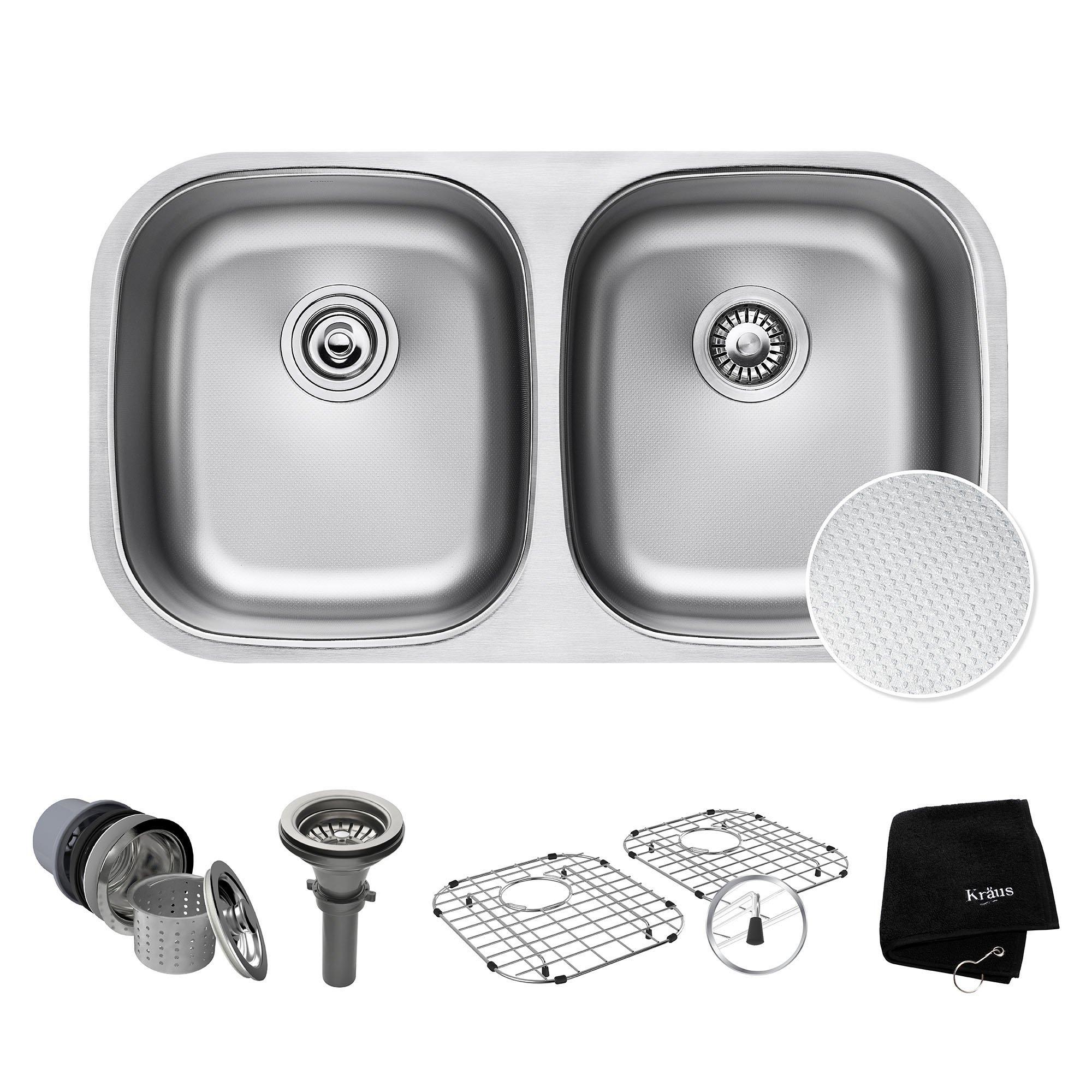 Kraus Outlast MicroShield Scratch-Resist Stainless Steel Undermount 50/50 Double Bowl Sink, 32'' 16 Gauge, Premier Series KBU22E