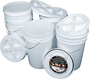 Bucket Kit, Five White 6-Gallon Buckets with White Gamma Seal Lids