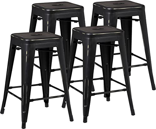 Poly and Bark Trattoria 24 Counter Height Stool in Distressed Black Set of 4