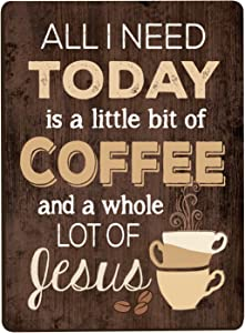 All I Need Is Coffee & Jesus Distressed Wood Look 3 x 4 Inch Wood Lithograph Magnet