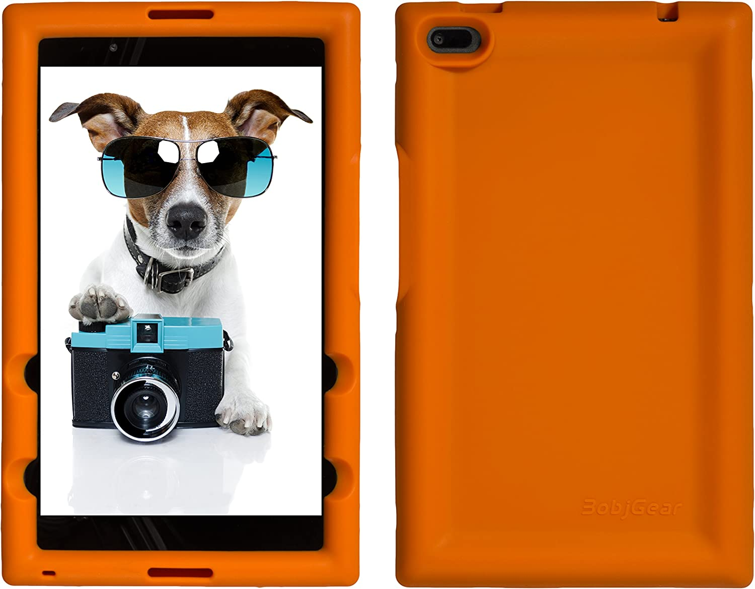 Bobj Rugged Case for Lenovo Tab 4 8 inch only TB-8504F or TB-8504X (NOT for TB-8304F or Plus Model TB-8704) - BobjGear Custom Fit - Patented Venting - BobjBounces Kid Friendly (Outrageous Orange)