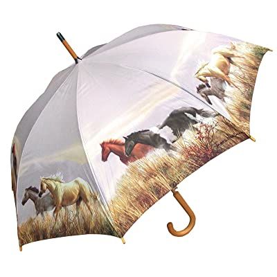 Horse Umbrella Windproof - Automatic Open 46 inch - Best Print for Women - by Adjore