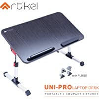 Artikel Uni-Pro Laptop Desk | Study Table | Bed Table| Height & Tilt Adjustable | Left & Right Hand Mouse Compatible | Foldable and Portable | Non-Slip Legs | Carbon Black