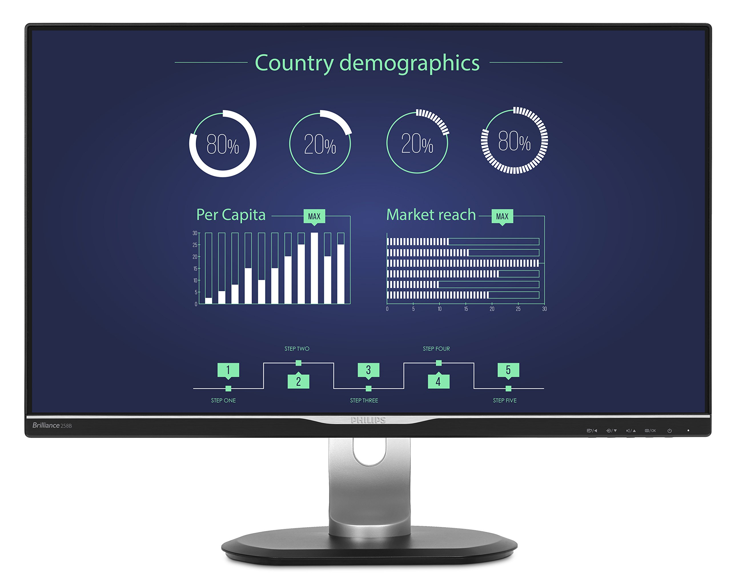 "Philips 276E8FJAB 27"" Class IPS Slim LED Monitor, 2560 x 1440, 350cd/m2, 4ms, Speakers, VGA, DisplayPort, HDMI 6"