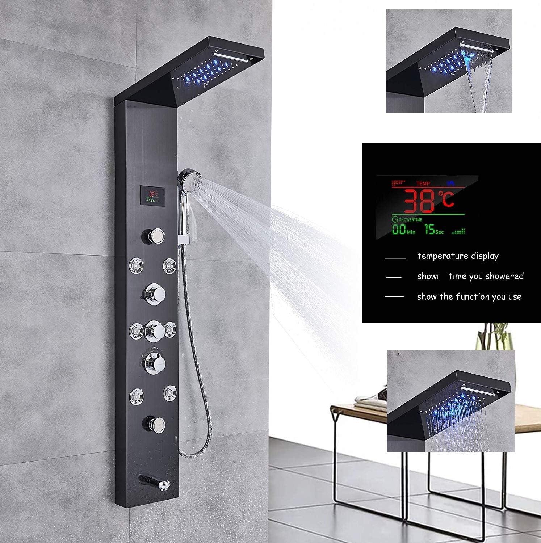 Panneau de douche de haute qualit/é avec indicateur de temp/érature LED et fonction massage Couleur nickel bross/é