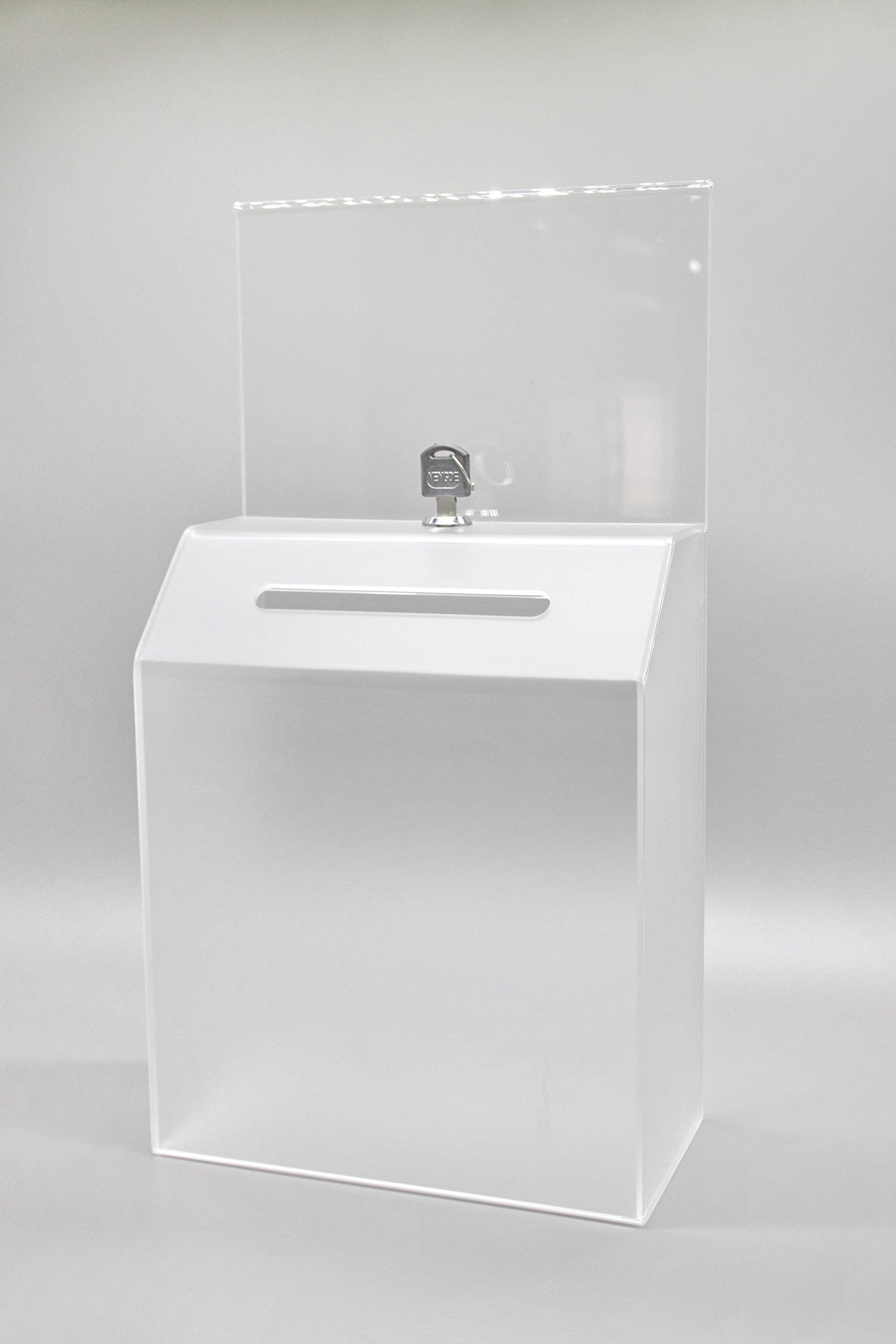 FixtureDisplays 8.5''x16.0''x 4.5''Frosted Acrylic Ballot Box w/ Sign Holder,Wall or Countertop-Clear19243