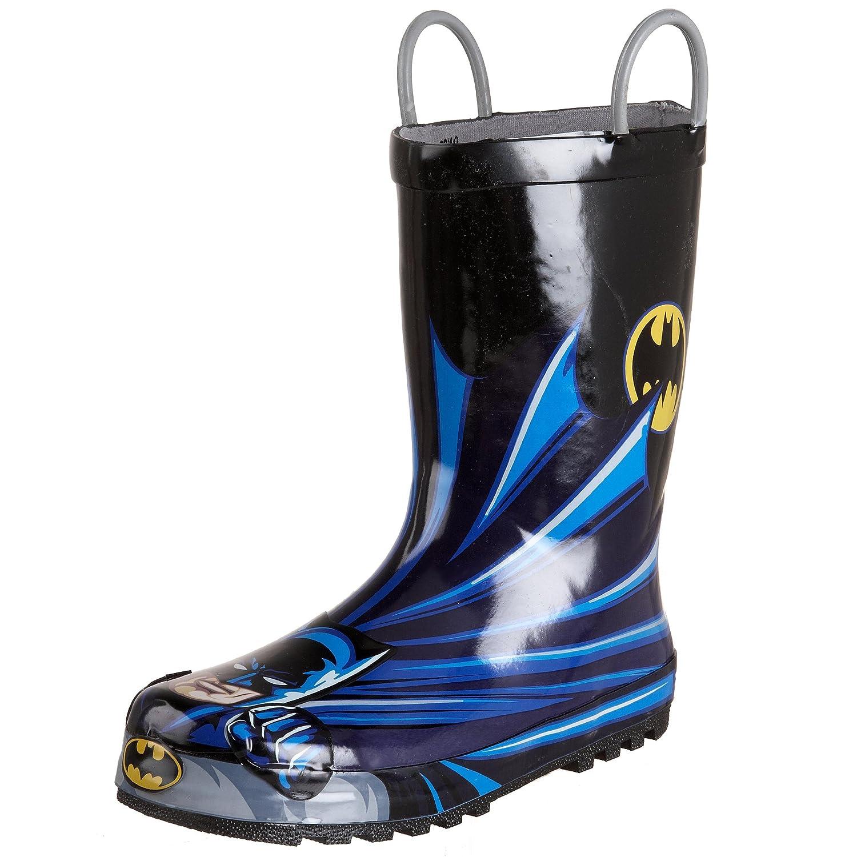Western Chief Kids' Waterproof D.c. Comics Character Rain Boots with Easy on Handles, 660000 - Batman Rain Boot