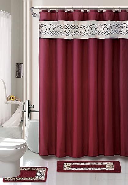 . Home Dynamix Designer Bath Polyester 15 Piece Bathroom Set  Burgundy