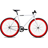 Golden Cycles Single Speed Fixed Gear Bike with Front & Rear Brakes(Diablo 55), White/Red