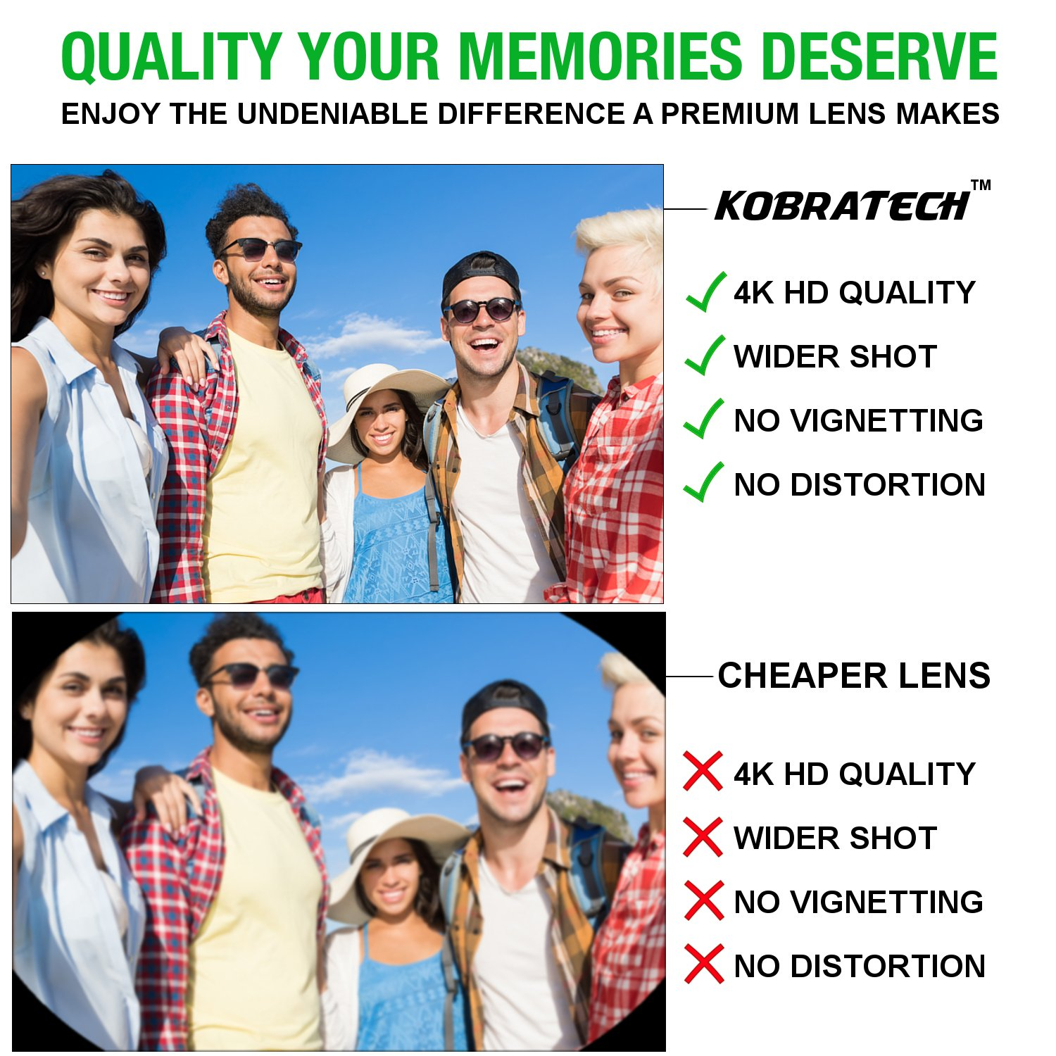 KobraTech 4K iPhone Camera Lens Kit - HD Wide Angle Phone Lens & Macro Cell Phone Lens iPhone & Android - Includes Remote Shutter by KobraTech (Image #5)