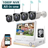 ONWOTE All-in-one 1080P HD NVR Wireless Home Security Camera System Outdoor with