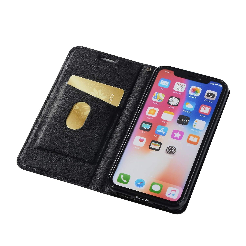 Lila Huphant Compatible for Schutzh/ülle iPhone X//iPhone XS H/ülle Strass Glitzer Gesch/äft Wallet Flip H/ülle iPhone X//iPhone XS Brieftasche Handyh/ülle Klapph/ülle St/änder Kartenf/ächer