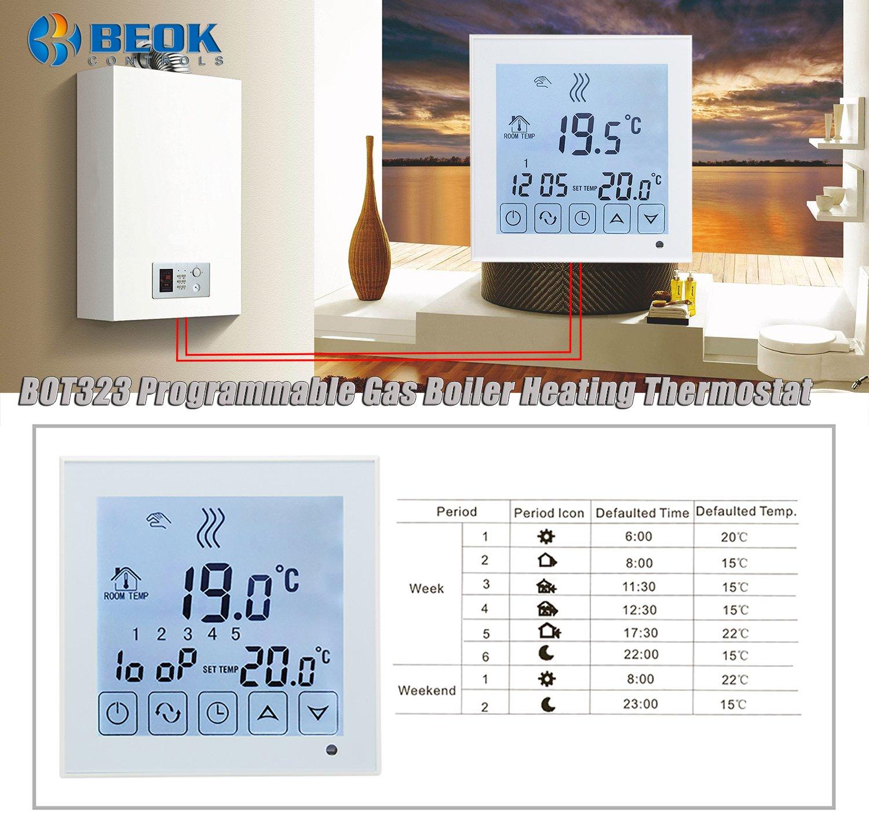 Beok BOT323W Termostato Programable Digital de Calefacci/ón por Calderas de Gas con Pantalla LCD Controlador de Temperatura 1.50 voltiosV Funciona con Pilas