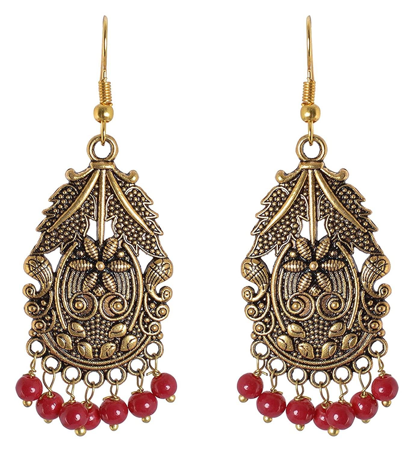 Subharpit Red Pearl Non Precious Metal Golden Indian Traditonal Dangle Earrings for Women and Girls