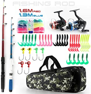 Fishing Rod and Reel Combos Telescopic Fishing Pole Spinning Reels Full Kit, 1.3M & 1.6M Fishing Rods + 2PCS Spinning Reels + Lures Hooks + Fishing Bag, Travel Fishing Kit for Kids Family Beginners