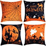 Hogardeck Halloween Pillow Covers Decorations, 18x18 Happy Halloween Square Yellow Black Decorative Couch Throw Pillow Cases,