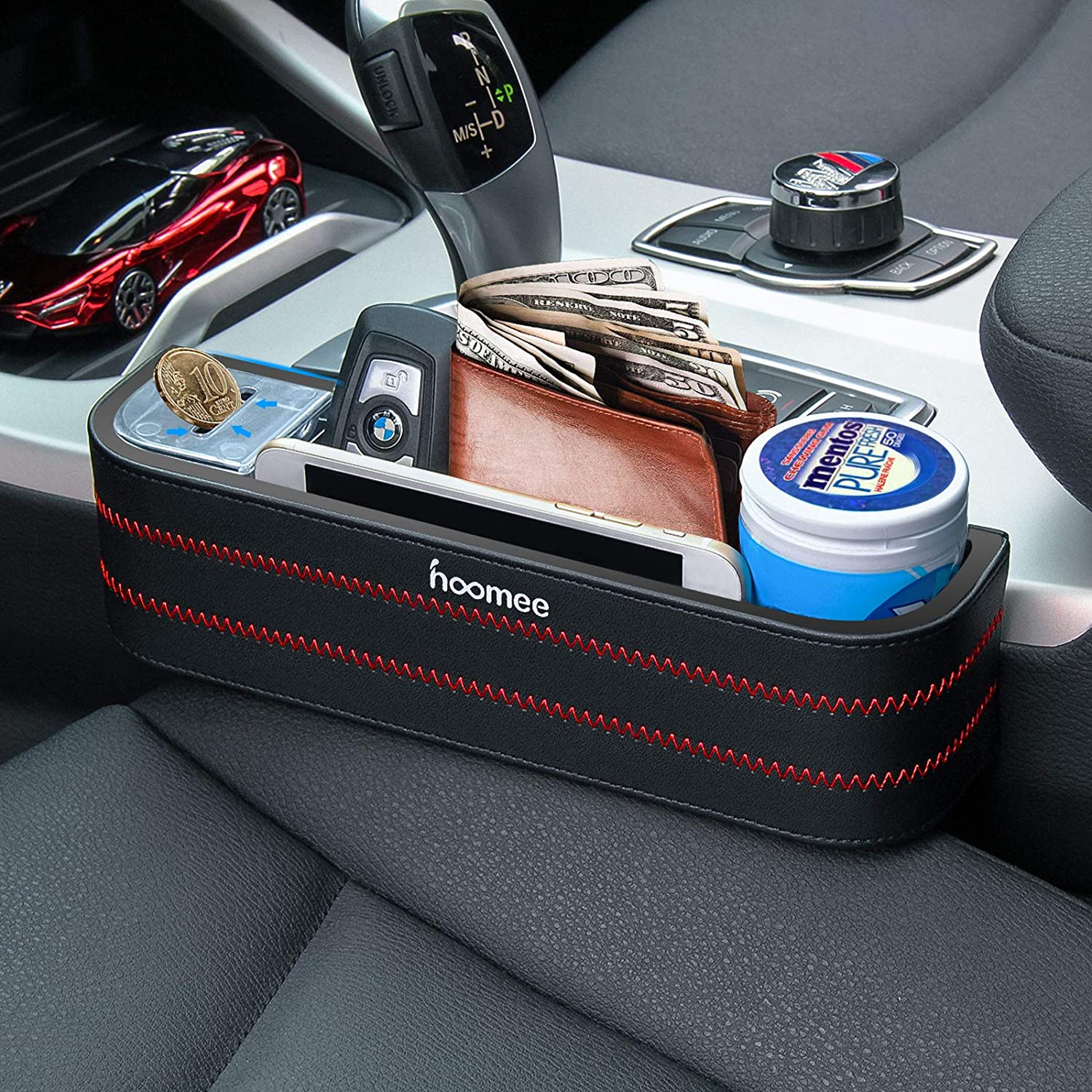 Car Seat Gap Filler Auto Vehicle Seat-Side Pocket Organizer Black-US Extra Storage-Fit Most Cars Coin Catcher HOOMEE Deluxe PU Leather Multi-Functional Console Storage Caddy