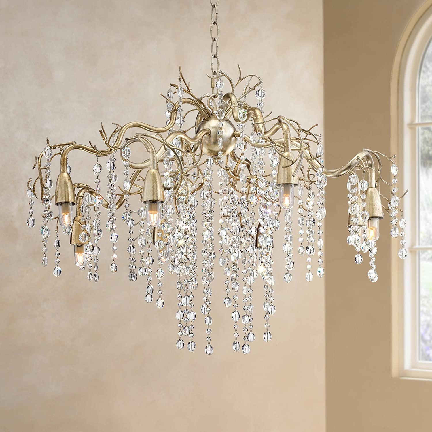 Branches Silver Champagne Large Chandelier 31 Wide Modern Clear Crystal Strands 8 Light Fixture For Dining Room House Foyer Entryway Kitchen Bedroom Living Room High Ceilings Possini Euro Design Amazon Com