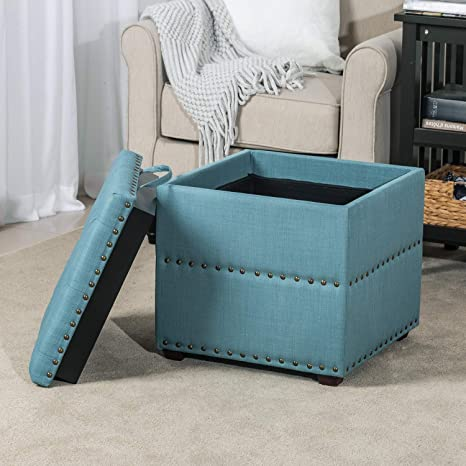 Excellent Edeco Storage Ottoman Bench With Tray Square Foot Stool With Nailhead Trim Blue Creativecarmelina Interior Chair Design Creativecarmelinacom