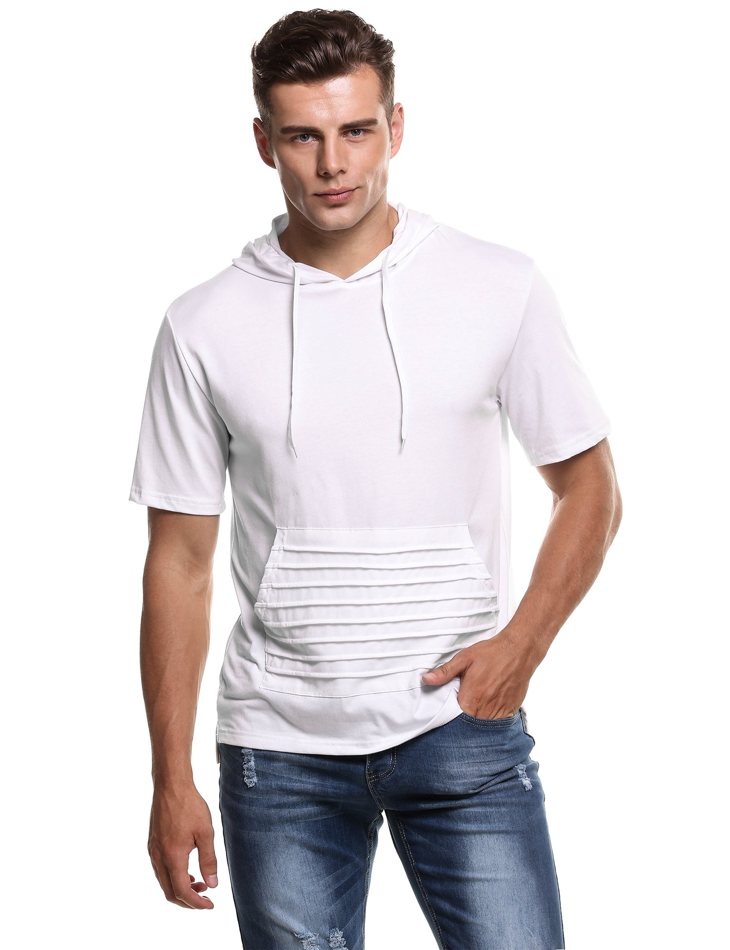 Hotouch Men's Fashion Summer Short Sleeves T-Shirt Hoodie (White XL)