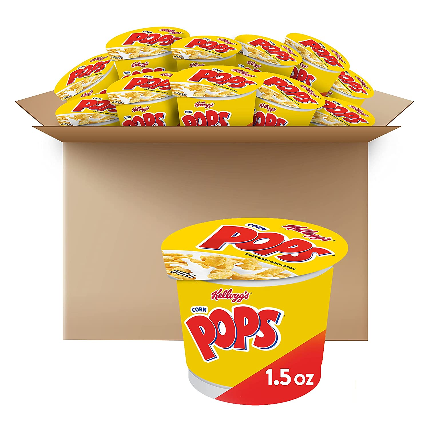 Kellogg's Corn Pops, Breakfast Cereal in a Cup, Bulk Size, 12 Count (Pack of 2, 9 oz Trays)