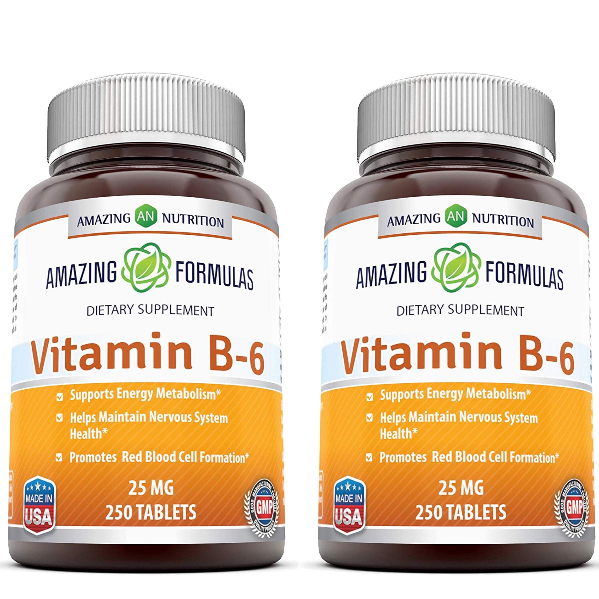 Amazing Nutrition Vitamin B6 Dietary Supplement - 25 mg, Pack of 2-250 Tablets - Supports Healthy Nervous System, Metabolism & Cell Health by Amazing Nutrition