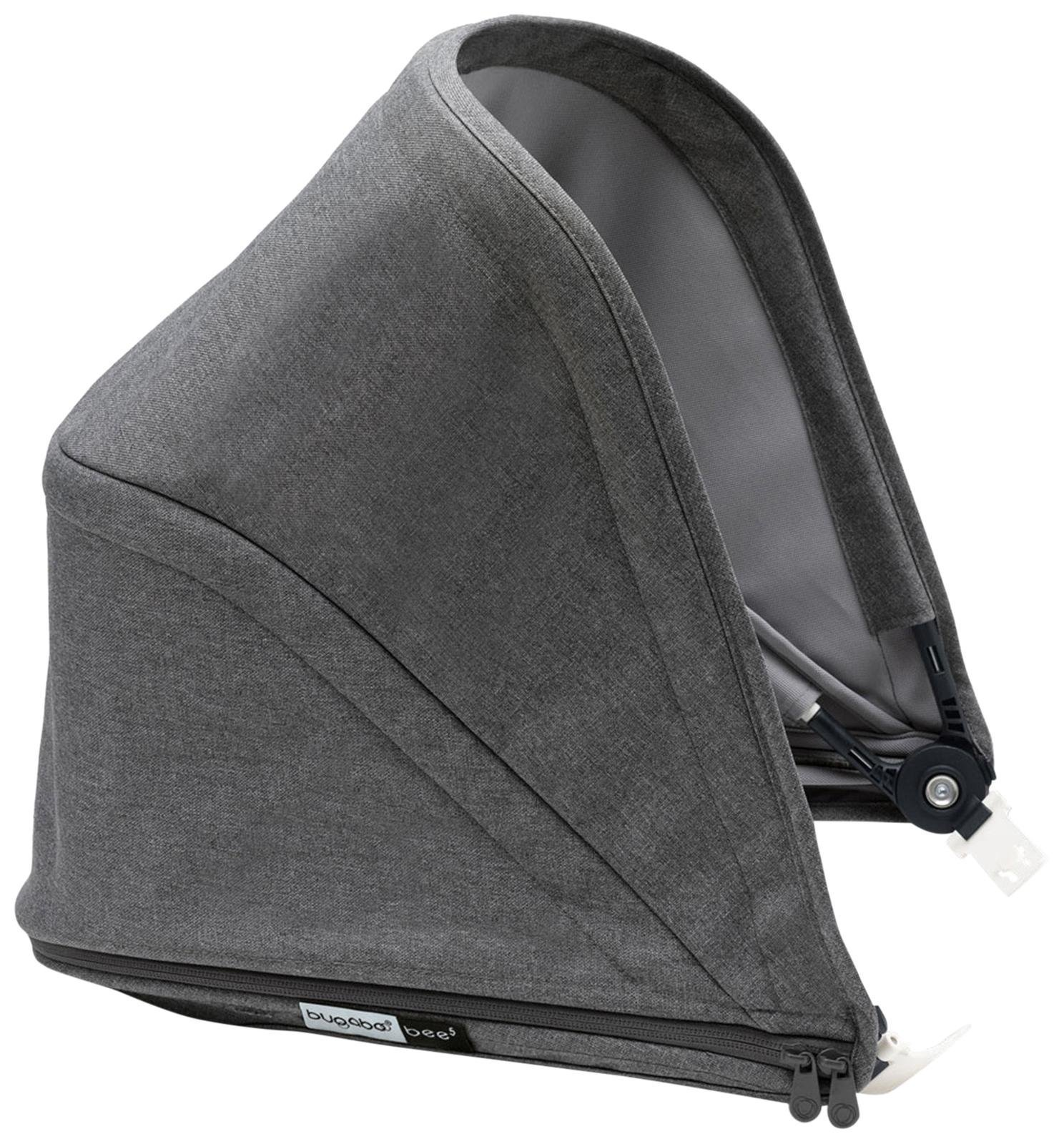 Bugaboo Bee5 Sun Canopy, Grey Mélange - Extendable Sun Shade for Full Weather Protection, Machine Washable