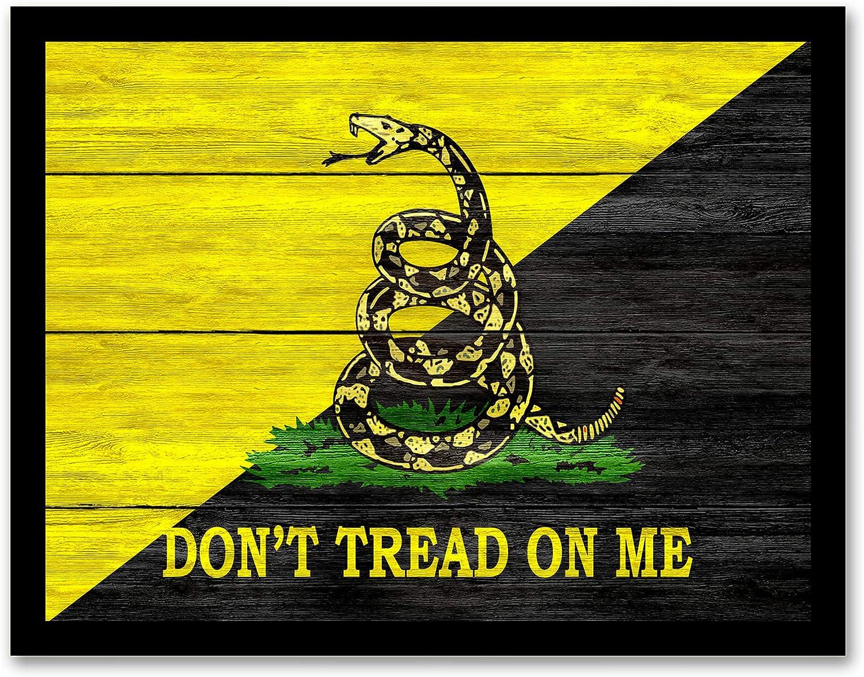 Don't Tread On Me Emblem Military Decor - Framed - Canvas Print Home Decor Wall Art, Black Real Wood Frame, Black, 14x18